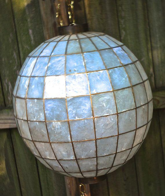 vintage capiz shell lantern - 1960s mid century globe swag lamp light fixture