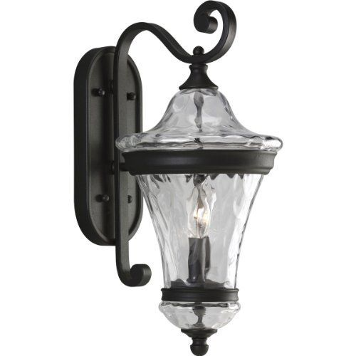 Progress Lighting P5937 31 2 Light Wall Lantern With Blown Water Patterned Glass Textured Black By Progress Ligh Black Light Bulbs Wall Lights Outdoor Sconces