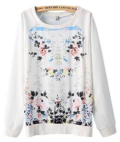 VonFon Women Floral Print Stiching Raglan Sleeve Fashion Leisure Style Hoodie, Sz 12