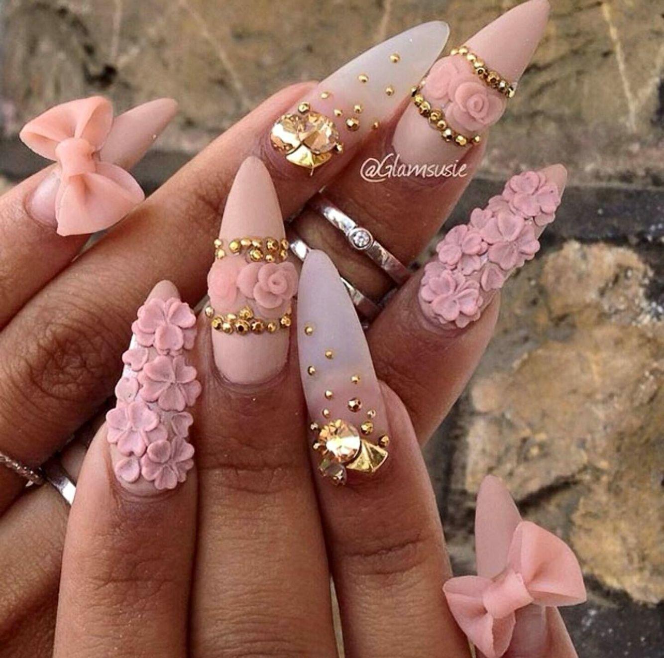 pink floral stiletto nails w bows - Pin By Maya Rogers On Nails Pinterest Nail Nail, Makeup And