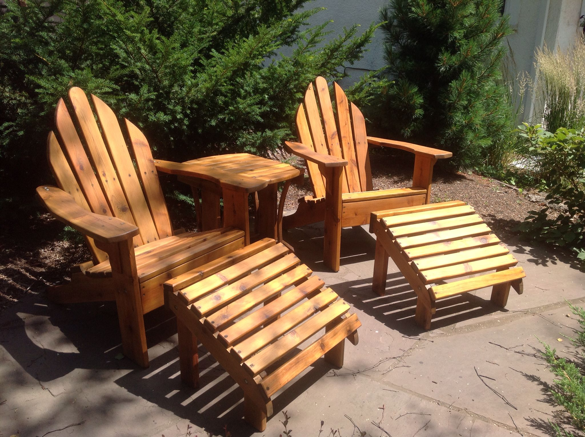 Newly Refinished Vintage Red Cedar Adirondacks With Cabot