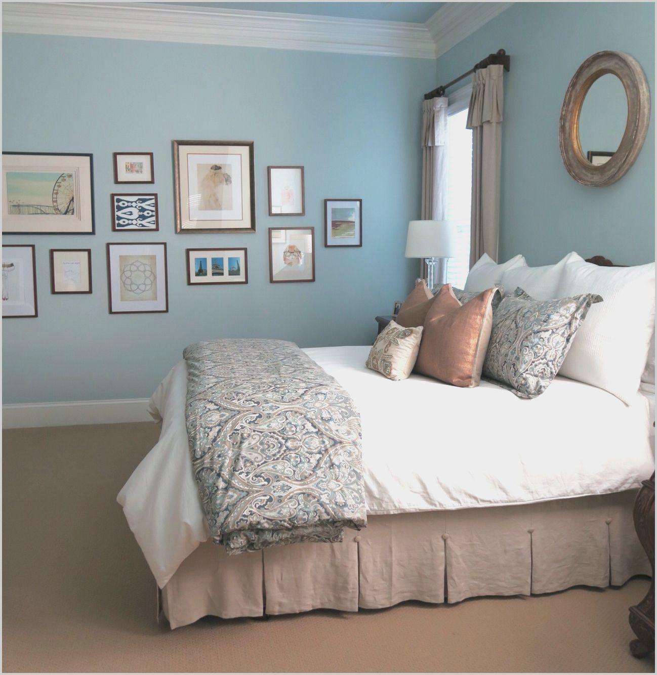 White And Khaki Bedrooms Blue Bedroom Walls Blue Bedroom Decor Light Blue Bedroom