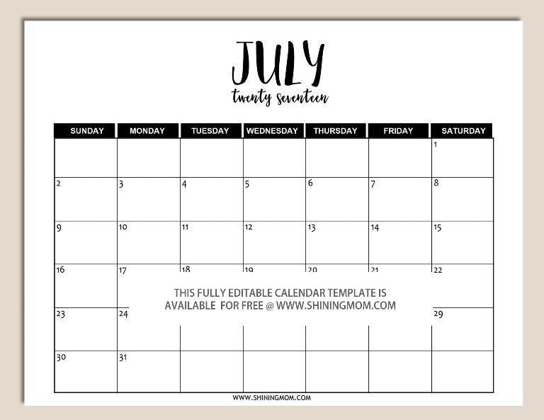 Free Printable Fully Editable 2017 Calendar Templates In Word