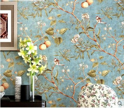 Superbe 10m*53cm Home Decor Classic American New Wallpaper Tree Flower Bird Pattern  Sitting Room Bedroom