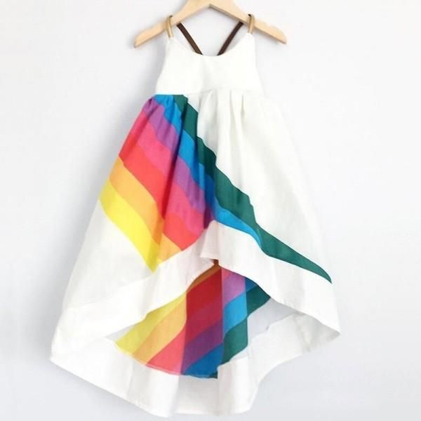 816b4f473 Rainbow Print Backless Slip Dress for Baby and Toddler Girls ...