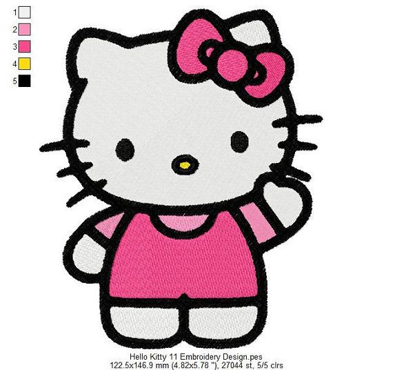 Hello Kitty 11 Embroidery Design 2 Sizes and 10 Formats  This listing is for a digital file to be embroidered. You will need an embroidery