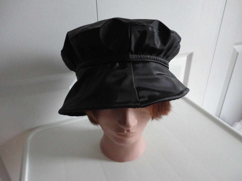 2dcc249499c3a 90s black pvc beret women hat extra large 23 1 2 inches Beatnik Look! by  LoukiesWorld on Etsy