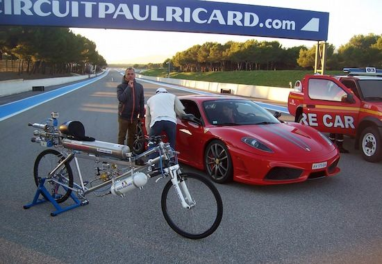 Rocket Bicycle Speeds Off Faster Than Cars Powered Bicycle