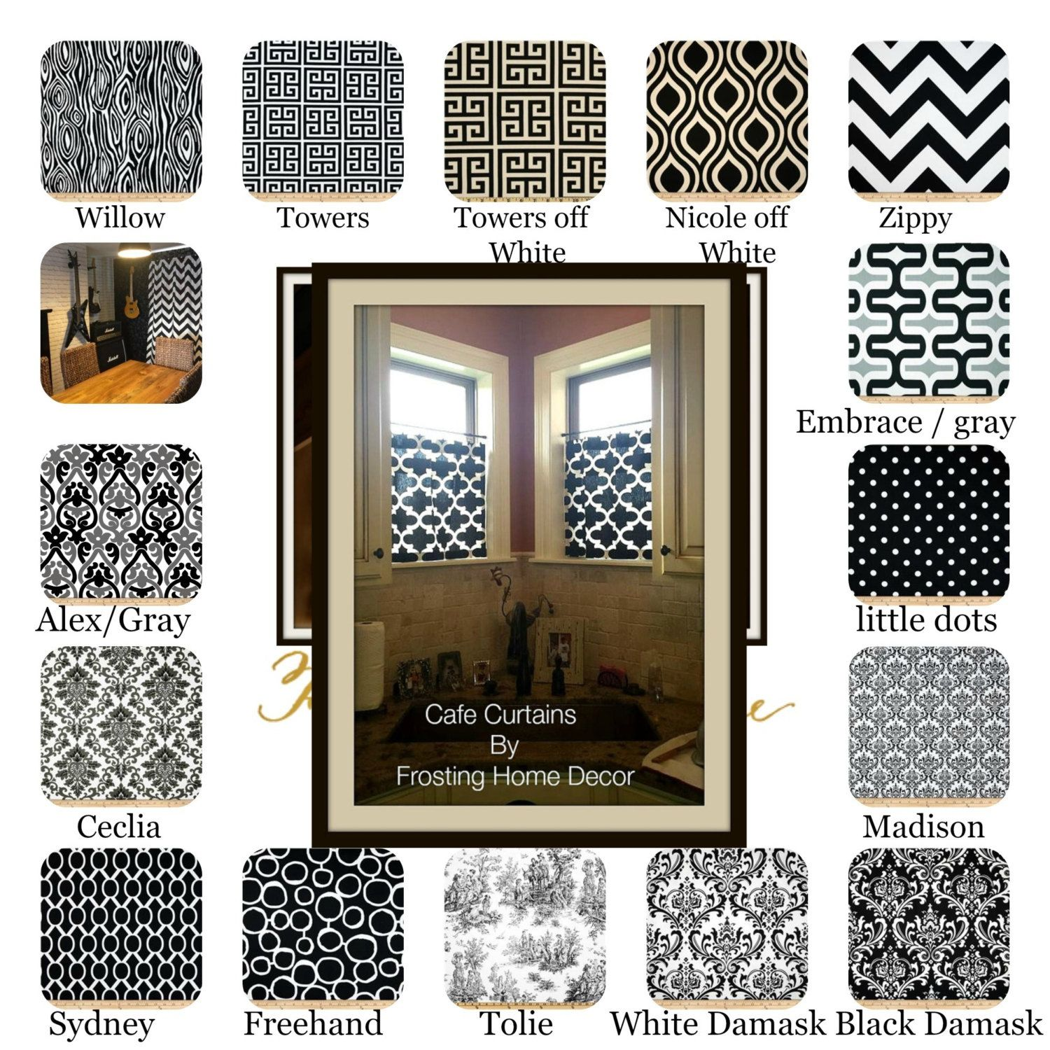 Small window decor  black designer fabric cafe curtain kitchen curtains living rooms