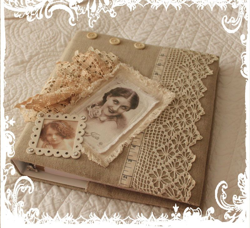 vintage linen and lace journal