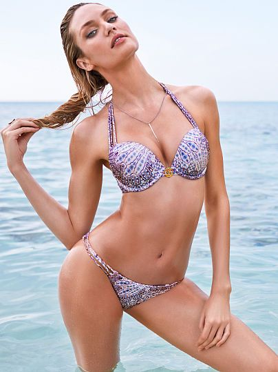 088df45d85 Strappy Add-2-Cups Push-Up Halter Top Bombshell Swim Tops | candy body4