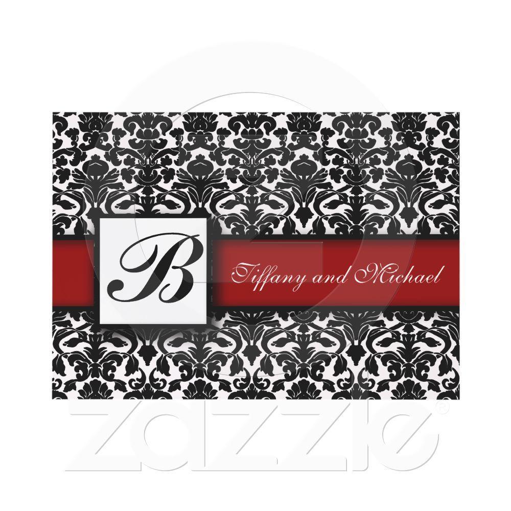 Damask Wedding Invitation Black White Red | Damasks, Weddings and ...