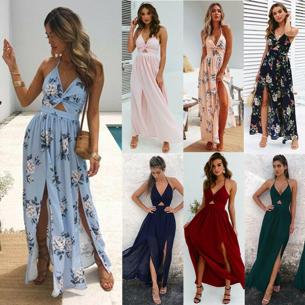Frauen wickeln Sommer Boho Floral Maxi langes Kleid Urlaub Strand