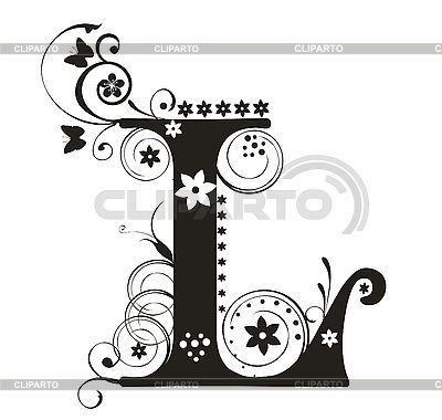 Decorative letter L with flowers for design