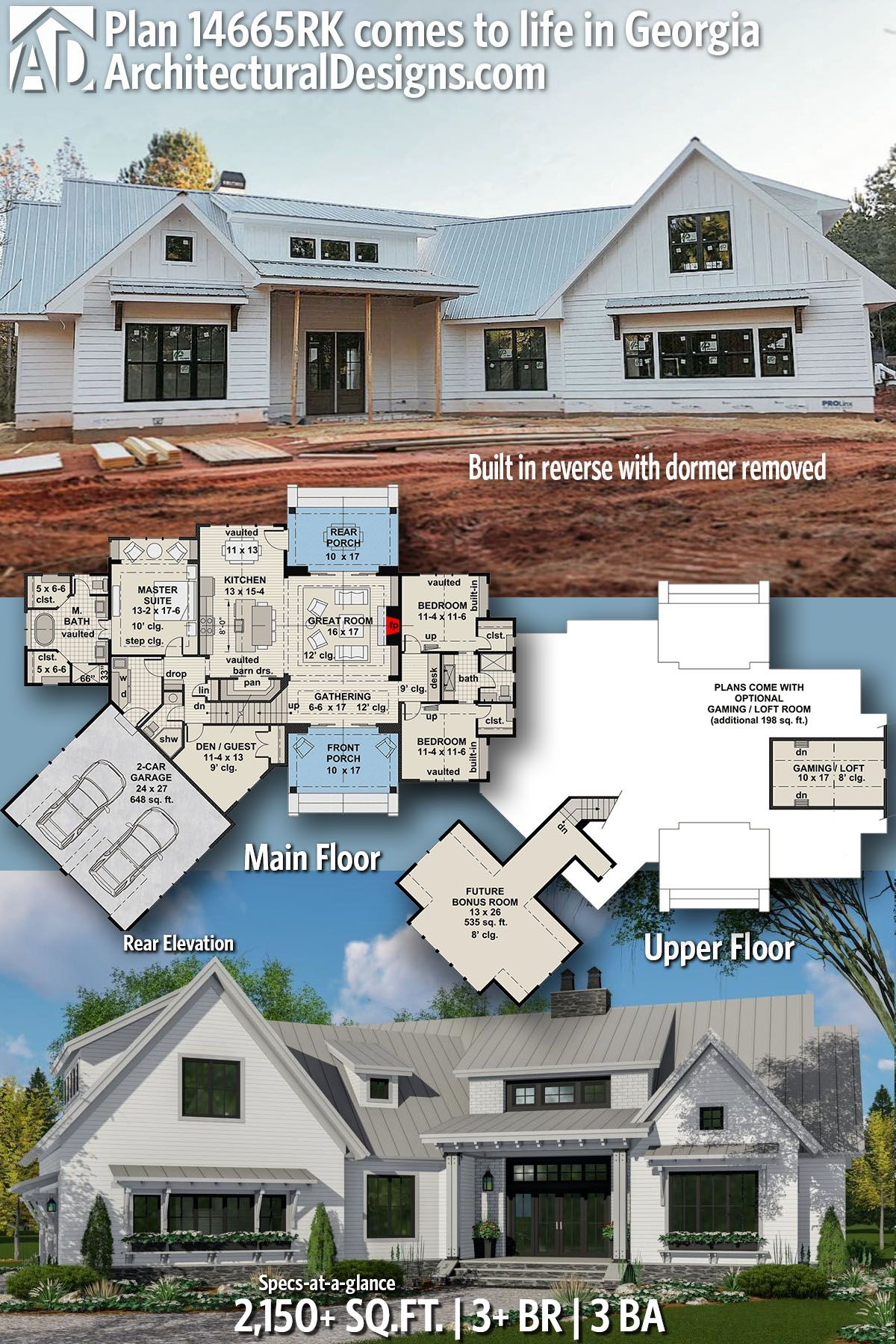 Plan 14665RK: Expandable Farmhouse House Plan with Options ...