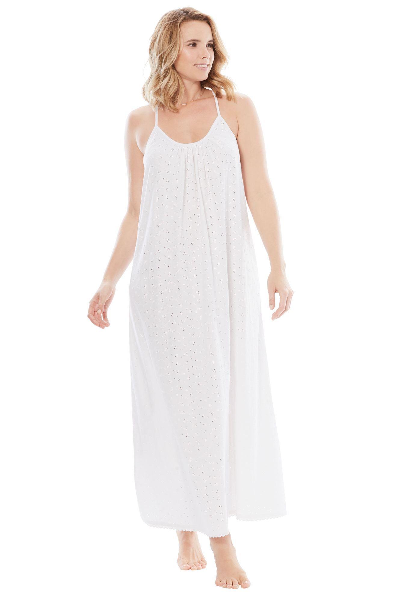 ec41a29a1559c Breezy Eyelet Knit Long Nightgown by Dreams & Co. - Women's Plus Size  Clothing