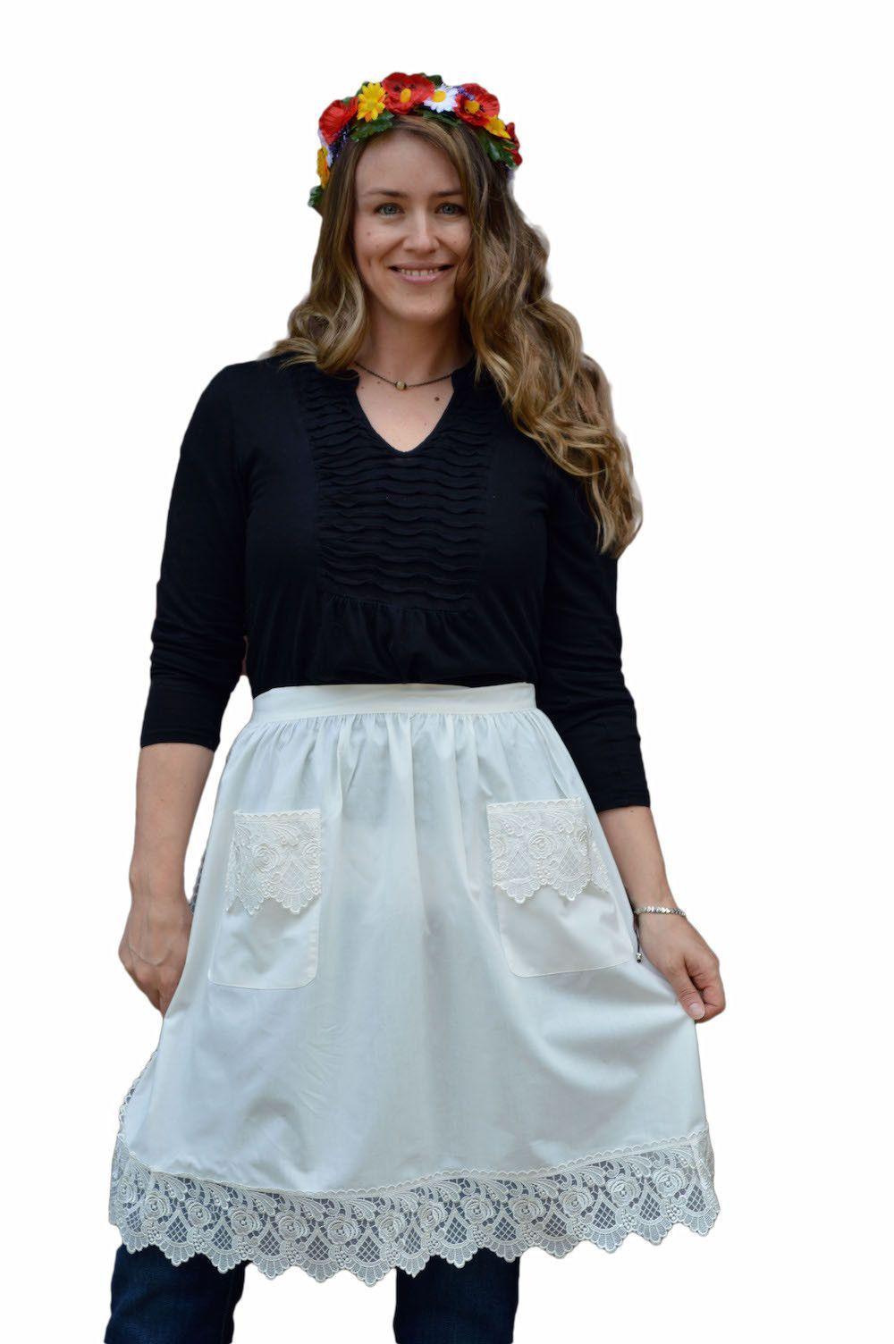 White apron maid - Dutch Lace Adult Half Apron White Maid Costume