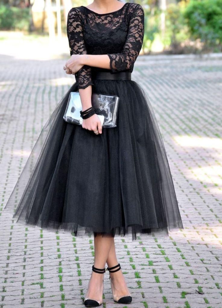 Sheer 3 4 Long Sleeve Tutu Skirt Party Dresses A Line Tea Length Zipper  Black Appliqued Tulle Formal Prom Cocktail Gowns Designer Ball Gowns Dress  With Lace ... 3d1c385296db