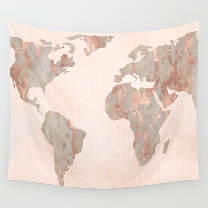 buy rosegold marble map of the world wall tapestry by mapmaker worldwide shipping available at society6com just one of millions of high quality products