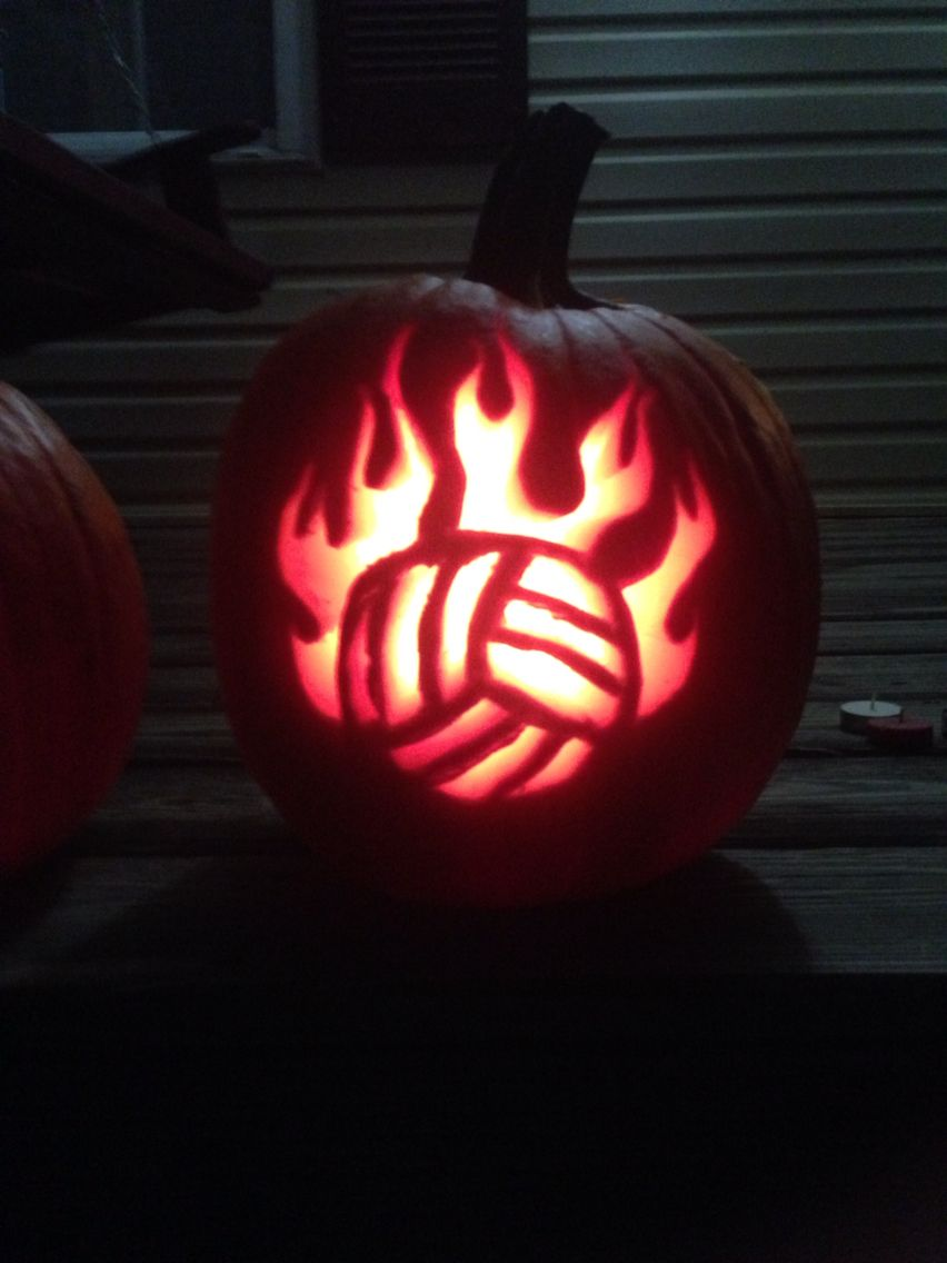 My volleyball pumpkin pumbkincarving beth