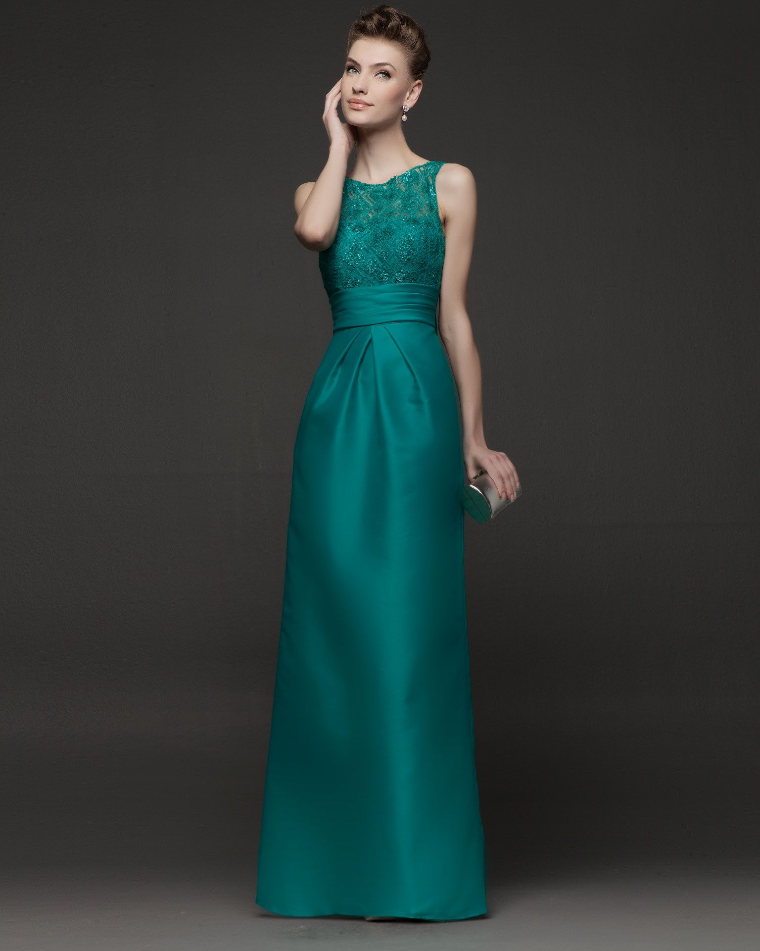 Hot Sale Empire Tank Top Floor Length Green Satin Evening Dress ...