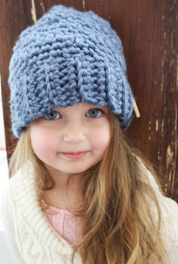 d3a5286e9ce Blue Chunky Slouchy Hat Cap Beanie Crochet Knit Christmas