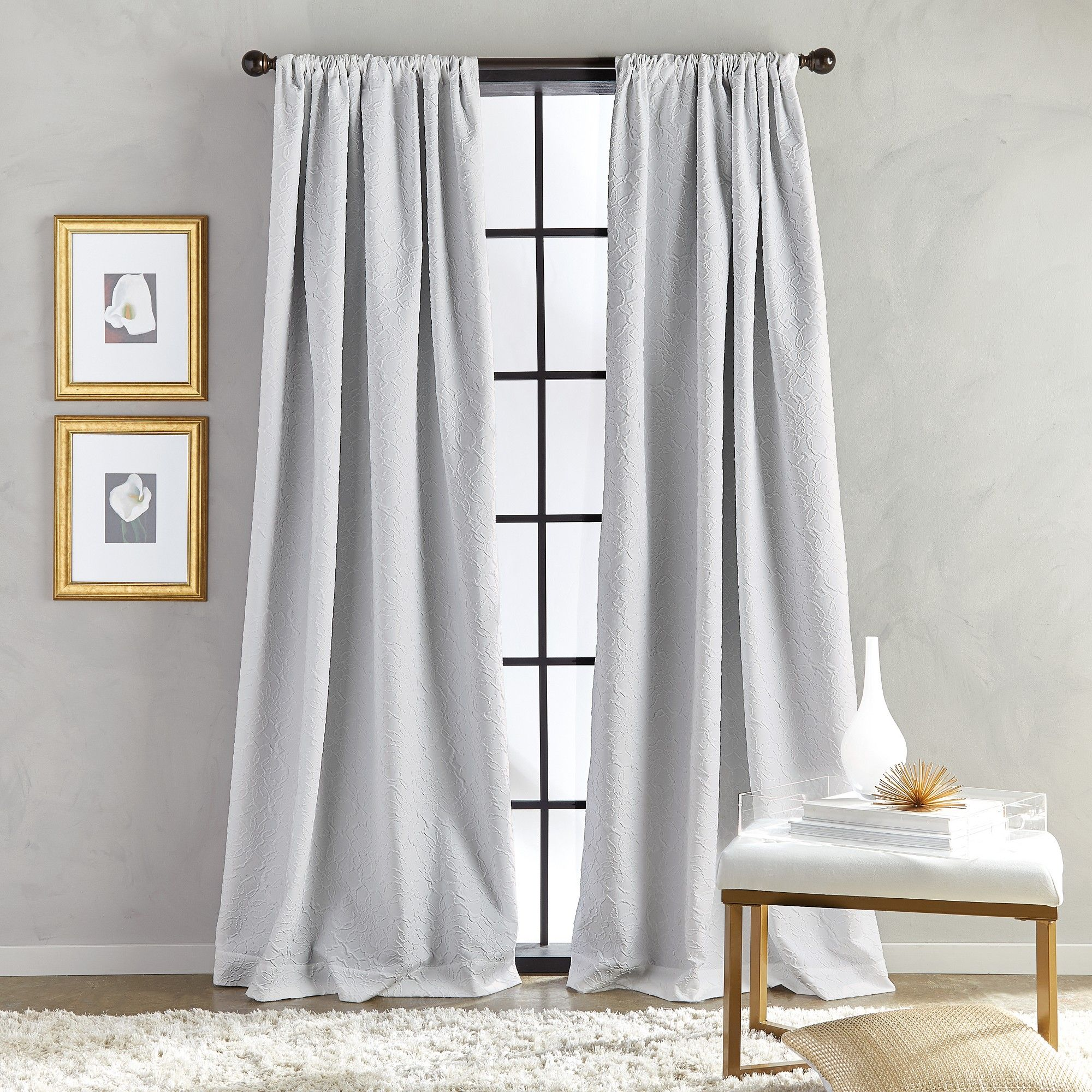 95 Bloomsbury Poletop Lined Curtain Panel Gray White Curtains