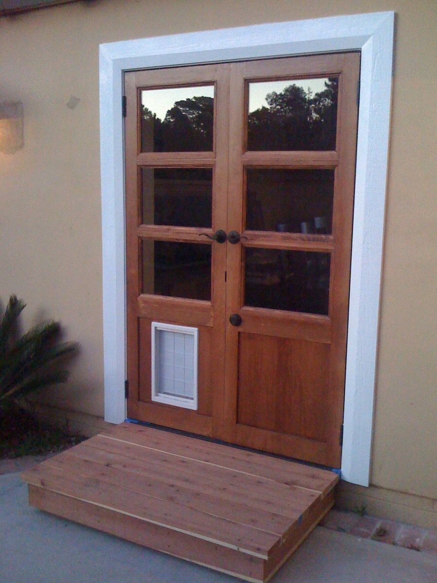 Custom french doors with dog door custom french doors