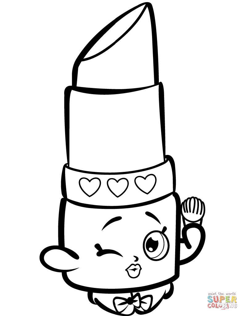Beauty Lippy Lips Shopkin Coloring Page Free Printable