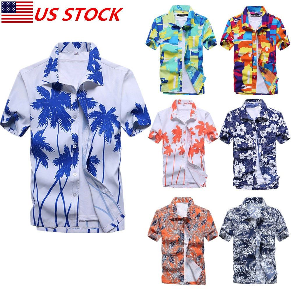 Homme Chemise Hawaïenne Stag Plage Hawaii Aloha Party Summer Holiday Fancy Shirt NEW