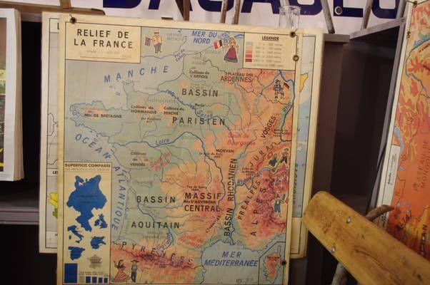 French Vintage School Maps Bassin Little Paris Massif Central