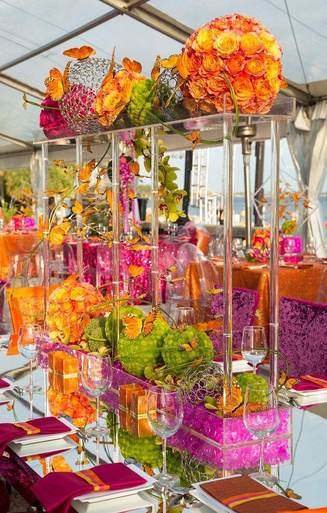 Bright bold orange butterflies tablescape tablescapes