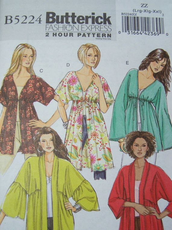 Butterick B5224 2 Hour Sewing Pattern Women S Boho Kimono Jacket