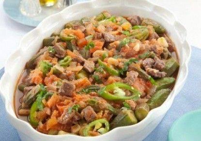 صينية بامية باللحمة المفرومة Meat Recipes Pinterest Arabic Food Meat And Food