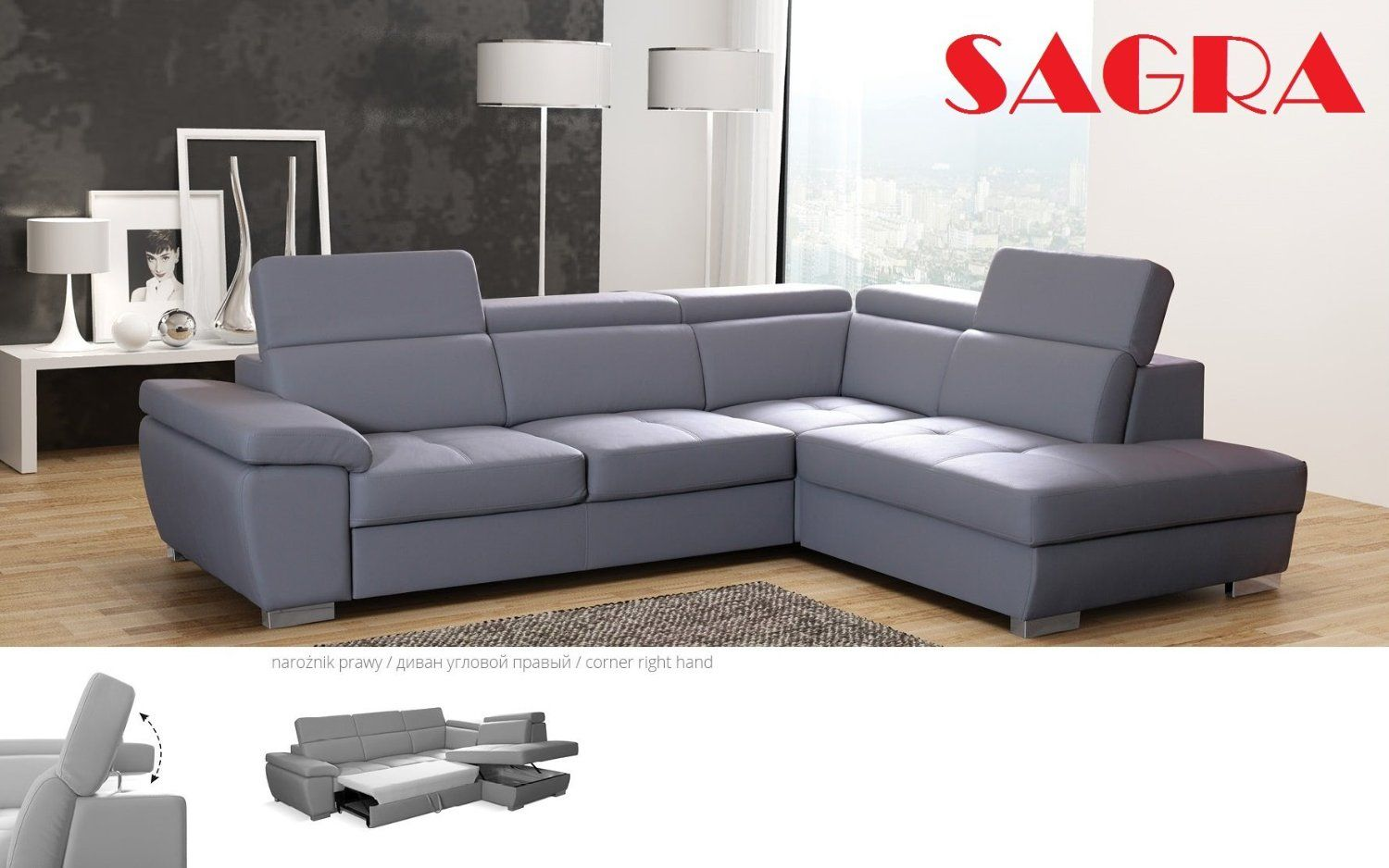 New Leather Corner Sofa Bed Haga Modern Design 2 3 Seater Left Or Right Grey White Black Brown Red Gr Leather Corner Sofa Leather Bedroom Leather Sofa Bed