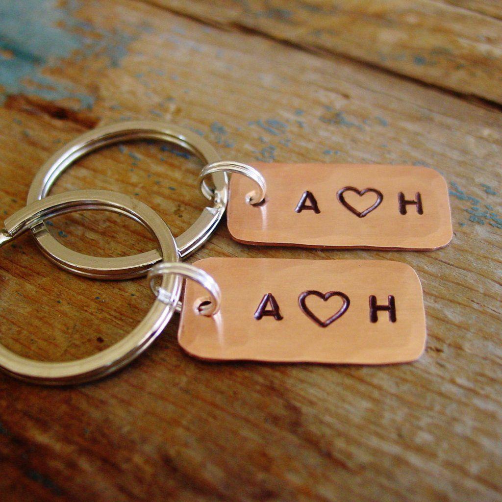 Couples keychain set matching set of 2 personalized