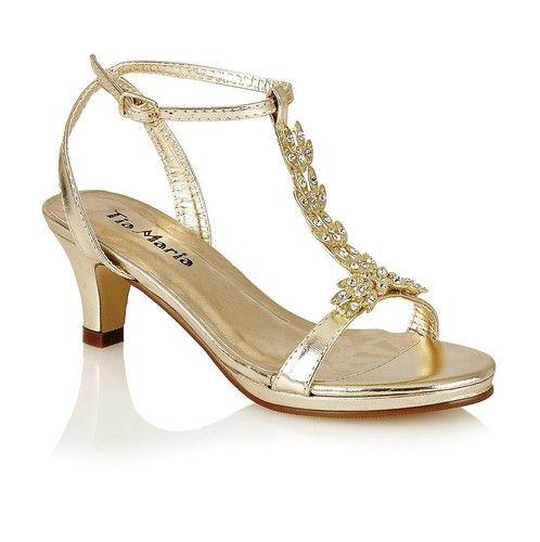 New S Kids Low Heel Fancy Bridesmaid Sandals Wedding Party Shoes