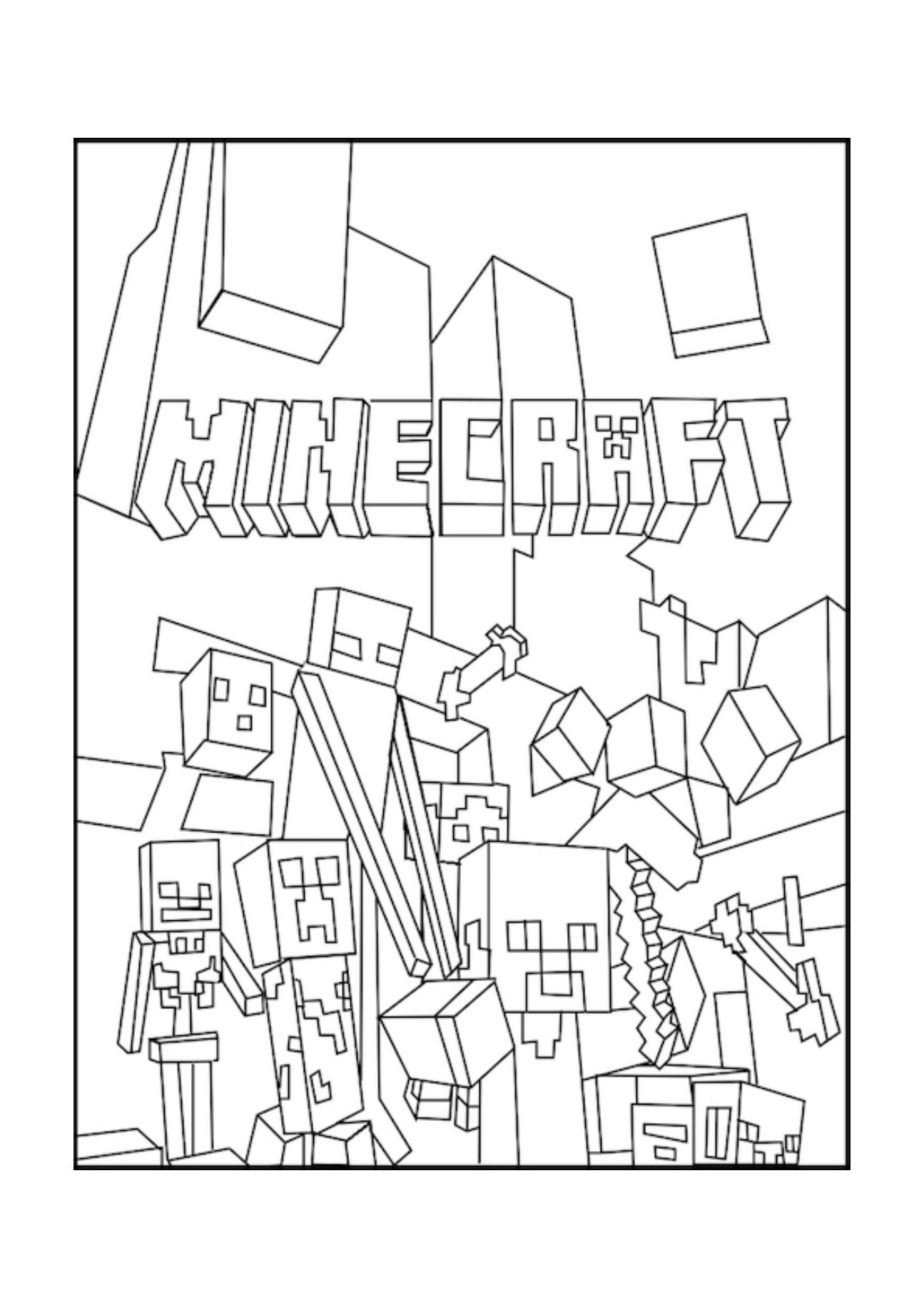 A Minecraft Mobs Coloring Page