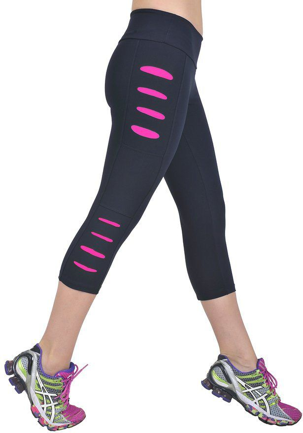 Sexy Workout Clothes, Cute Yoga Fitness Capris, Black Pink Mesh Cuts (Small)