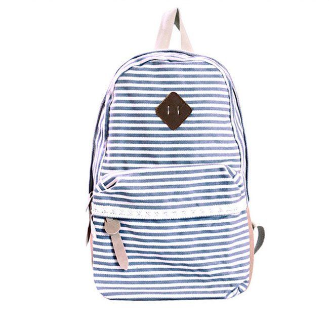 Retro Striped Lace Canvas School Backpacks
