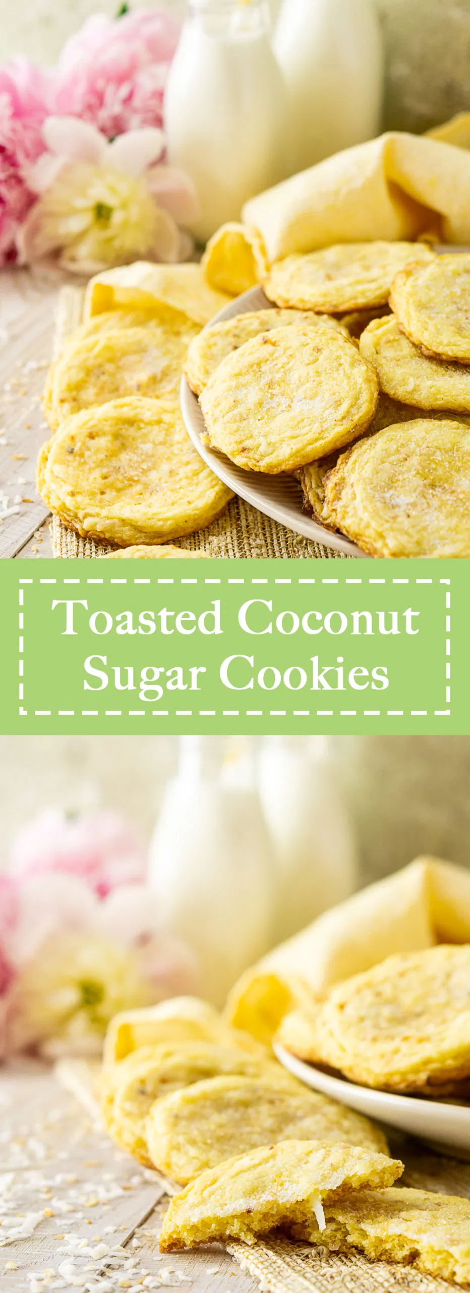 Searching for the perfect summer cookies? You'll love these toasted coconut sugar cookies! These super soft and chewy sugar cookies are full of tropical flavor and perfect for summer entertaining. Everyone always loves this easy sugar cookie recipe. #coconutsugarcookies #chewysugarcookies #coconutcookies #summercookies #bestsugarcookierecipe #bakerystylesugarcookies
