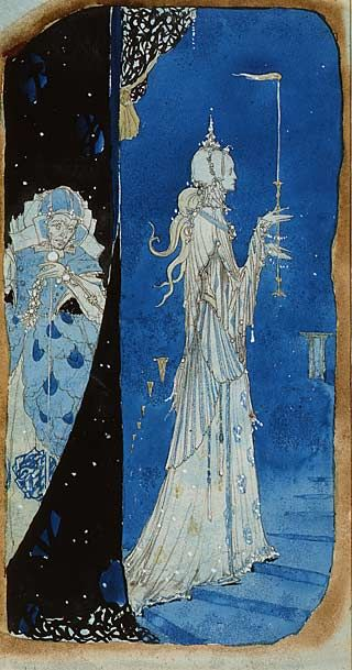 """""""Madeline"""" by Harry Clarke (Design for the Eve of St. Agnes Window at The Irish School) Pencil, watercolour on paper."""