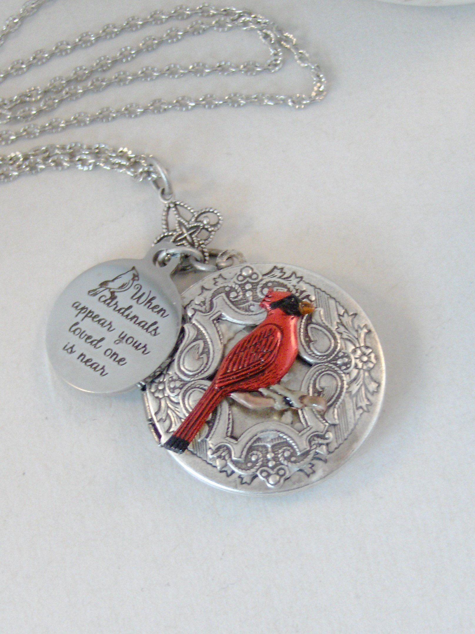 Cardinal's Appear, Locket,Cardinal Necklace,Cardinal,Bird