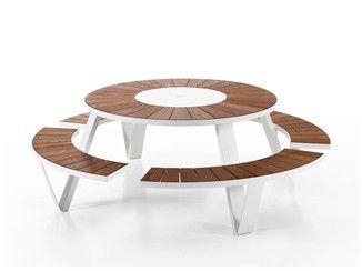 Table pour pique-nique ronde avec bancs intégrés PANTAGRUEL ...