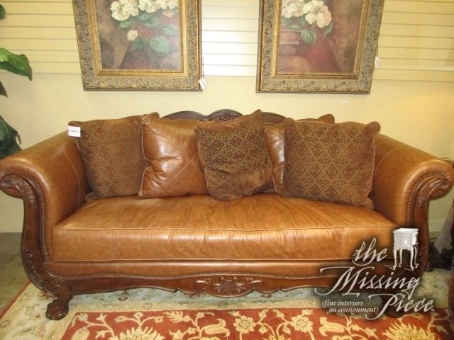Collezione Europa Leather Sofa On Wood Frame With Nailhead Trim