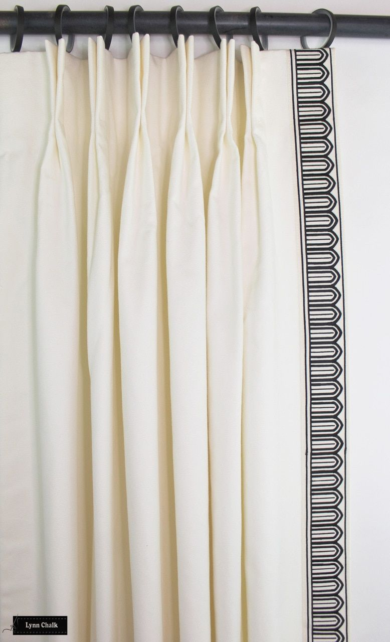Schumacher Arches Embroidered Tape Custom Drapes Shown In Black Off White 2 1 8 Wide Comes In Several Colors Custom Drapes Living Room Drapes Curtains