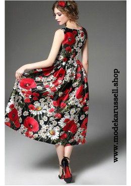 29853a6faffd7b Elegantes Blumenkleid Vida Wadenlang Maxi Kleider