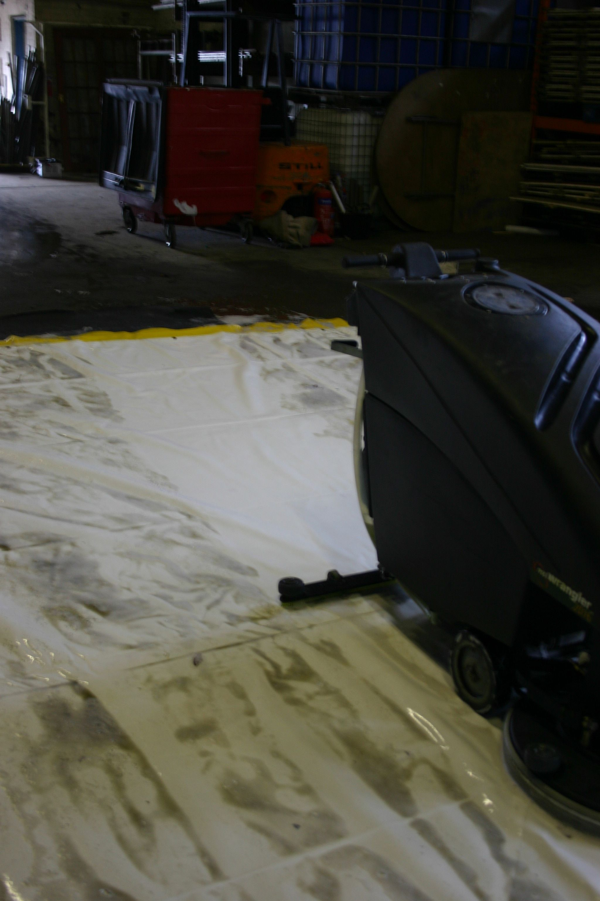 I found a scrubber dryer would work very well as we could not jet wash in our location