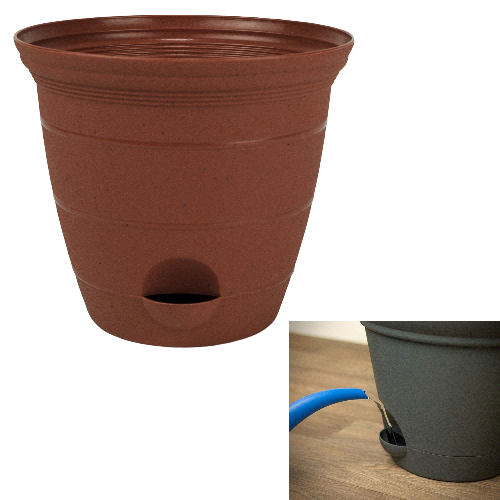 Misco 12 Inch Plastic Clay Color Self Watering Terra Flower Pot Or Garden Planter Flower Pots Planting Flowers Water Flowers