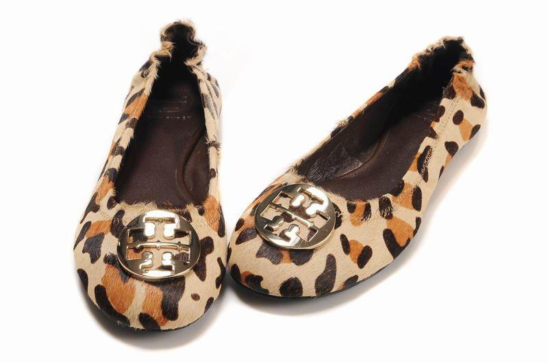 Tory Burch Reva Chestnut Leopard Ballet Flats